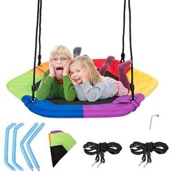 COSTWAY Nestschaukel Baumschaukel Hängeschaukel Tellerschaukel, 100-160cm verstellbaren Seil, 150kg Tragkraft bunt