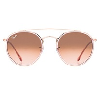 Ray Ban Round Double Bridge RB3614N 9069A5 51-22 rosegold-transparent/brown gradient