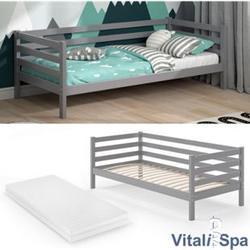 VITALISPA Kinderbett DARCY 90x200cm Grau mit Matratze