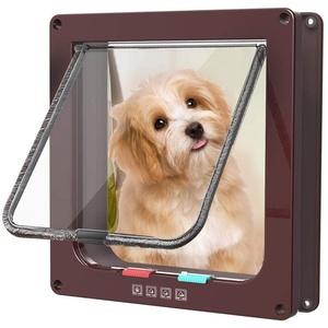 Yopin Haustier Mate Cat Mate Katze/Katzenklappe Chips Hundeklappe mit Tunnel Cat/Dog Inkubator mit 4-Wege-Verriegelung, stabil,katzenklappe chiperkennung(M, Braun)
