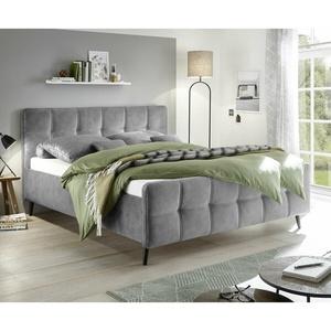 Polsterbett Bett Bettgestell Doppelbett Mario C in Stoff grau 180x200 cm