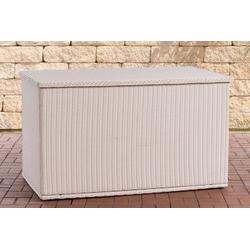 CLP Auflagenbox Comfy Rundrattan, Kissenbox aus Polyrattan weiß