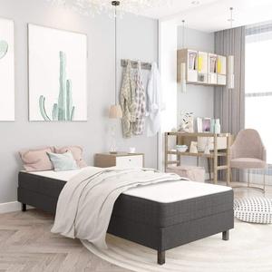 Tidyard Boxspringbett Einzelbett Jugendbett mit Federkern-Matratze, Dunkelgrau 90x200 cm