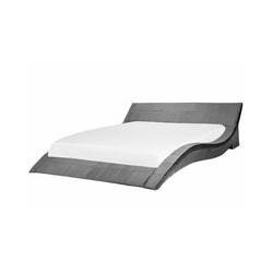 Elegant geschwungenes Samtbett 180 x 200 cm schwarz Vichy