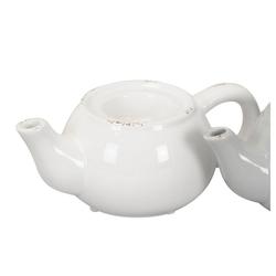 Posiwio Teelichthalter Teelichthalter TEEKANNE im Landhausstil Kerzenhalter shabby chic Kanne - WEISS