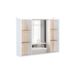 HOMCOM Spiegelschrank Spiegelschrank mit 6 Regalfächern