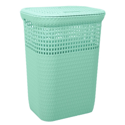 ONDIS24 Wäschekorb Ondis24 Wäschekorb Wäschepuff Wäschetruhe Sortierkorb belüftet in Rattan Optik aus Kunststoff 60 Liter grün