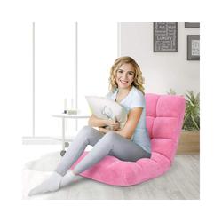 COSTWAY Bodenkissen Bodenstuhl verstellbar, Fensterstuhl mit Rückenlehne gepolstert, Bodenstuhl verstellbar rosa 59 cm x 105 cm x 15 cm