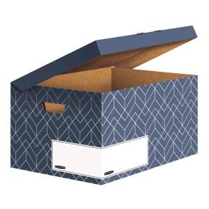 Fellowes Klappdeckelbox Maxi Décor Serie blau, 291 x 367 x 570 mm, Attraktive Aufbewahrungsbox mit Deckel, Farbe: Schieferblau
