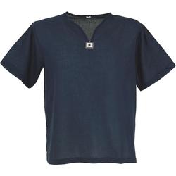 Guru-Shop Hemd & Shirt Yoga Hemd, Goa Hemd, Kurzarm, Männerhemd,.. blau L