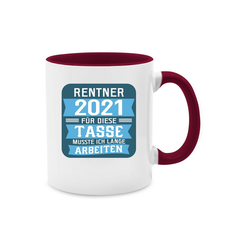 Shirtracer Tasse Rentner 2021 - blau - Rentner Geschenk Tasse - Tasse zweifarbig - Tassen, rentner tasse