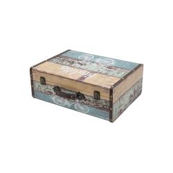 HMF Aufbewahrungsbox Vintage Koffer, aus Holz, Deko Fahrrad, 44 x 32 x 16 cm