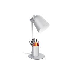 relaxdays Schreibtischlampe Schreibtischlampe mit Stifthalter silberfarben