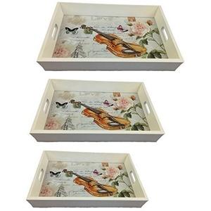 HOLZTABLETT Geige 3 er Set LN47-3 SERVIERTABLETT BETTTABLETT TABLETT Holz SERVIERPLATTE