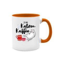 Shirtracer Tasse Ich mag Katzen und Kaffee - Tasse mit Spruch - Tasse zweifarbig - Tassen, tasse mit katzen spruch