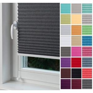 Home-Vision Premium Plissee nach Maß, ohne Bohren mit Klemmträger, für Fenster & Tür Sonnenschutzrollo Kollektion Melange (Graphit, B91-100cm x H201-230cm)