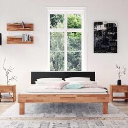Holzdoppelbett aus Buche schwarzem Kopfteil