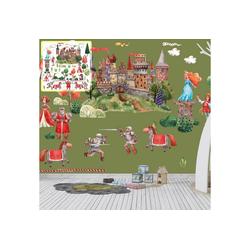Sunnywall Wandtattoo XXL Wandtattoo Ritter Ritterburg Set verschiedene Motive, Kinderzimmer Aufkleber bunt Wanddeko rot