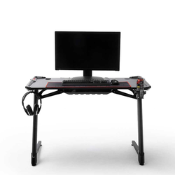 Schreibtisch in Schwarz LED Beleuchtung und Kabeldurchlass
