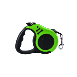 TOPMELON Hunde-Geschirr, Nylon + Kunststoff, Hundeleine Rollleine & Doppel-Knopf-Anti-Rutsch-Griff, 5m, Kunststoff grün S