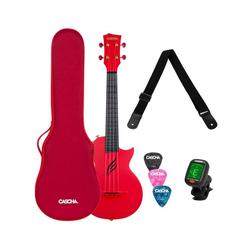 Cascha Ukulele Carbon Fibre, Rot, mit Soft-Case, Ukulelengurt, Plektren und Stimmgerät