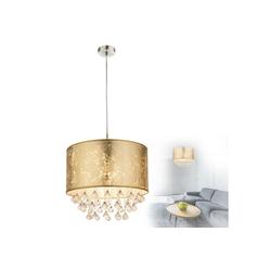GLOBO LEUCHTEN Hängeleuchten GLOBO AMY Hängeleuchte rund Glaskristalle Design 15187H3 gold