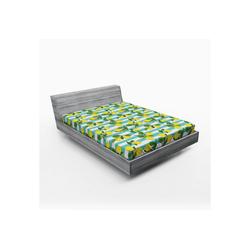 Spannbettlaken Soft Dekorativer Stoff Bettwäsche Rund-um Elastischer Gummizug, Abakuhaus, Zitronen Zitronenblüten Blätter Kunst 140 cm x 200 cm