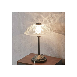 Licht-Erlebnisse Tischleuchte ANNABELLA Tischleuchte Jugendstil Bronze Weiß Nachttischlampe Lampe