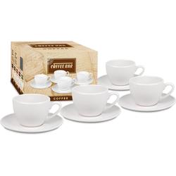 Könitz Tasse Coffee Bar (8-tlg), Porzellan, (4 Tassen mit Untertasse)