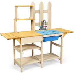 COSTWAY Spielküche Matschküche Kinderküche Outdoor Küche Tannenholz + Plastik, Holz