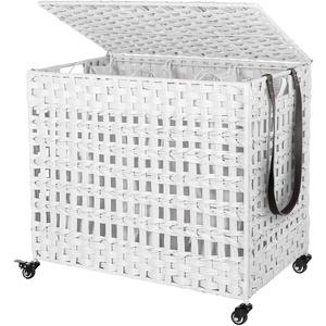 SONGMICS Wäschekorb handgeflochten, Wäschesammler aus Polyrattan, mit 3 Fächern, Deckel und Griffen, herausnehmbare Taschen, Wohnzimmer, Schlafzimmer, Waschküche, weiß LCB083W01