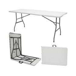 AMANKA Klapptisch Gartentisch für 6 Personen Klapptisch Campingtisch, 180 x 70 cm Klappbar Weiß
