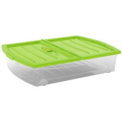 KIS Spinning Box Unterbettbox XL, 60 Liter, Unterbettbox mit Rollen, Farbe: grün-transparent
