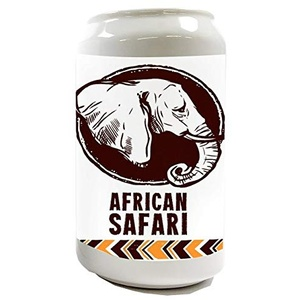 LEotiE SINCE 2004 Spardose Sparbüchse Geld-Dose Wiederverschließbar Farbe Weiß Afrika Elefant Safari in Afrika Keramik Bedruckt