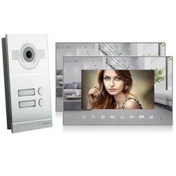 Video Türsprechanlage mit 2 Spiegelmonitore - Silber Kamera Fischauge
