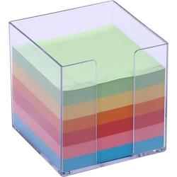 Zettelbox 9,5x9,5x9,5mm 700 Blatt farbiges Papier glasklar