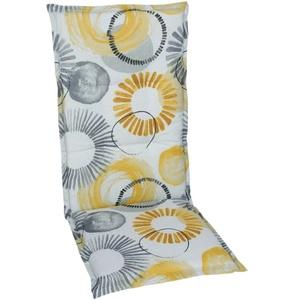 GO-DE Garten-Sesselauflage in gelb/grau, Hochlehner