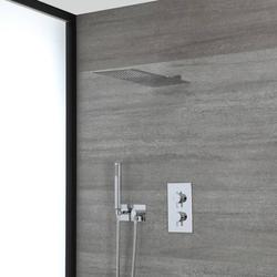 Duschsystem mit Thermostat, 20cm x 49cm schmalem Duschkopf und Handbrauseset – Chrom – Como, von Hudson Reed