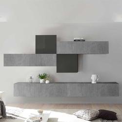 Fernseher Schrankwand in Beton Grau und Anthrazit Hochglanz hängend (6-teilig)