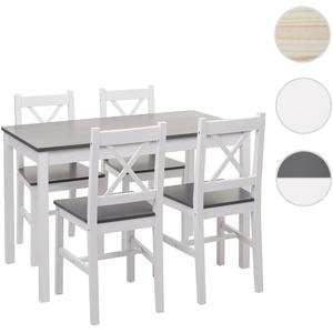 Esszimmer-Set HWC-F77, Sitzgruppe Esszimmergruppe, Massiv-Holz Landhaus 110cm ~ weiß-grau