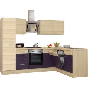 Winkelküche mit Elektrogeräten Eck Küche Küchenzeile L Form 270x170 cm aubergine