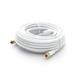 PremiumX 15m BASIC-LINE SAT TV Antennenkabel F-Anschlusskabel Koaxial-Kabel mit Mantelstromfilter HDTV 4K - Weiß TV-Kabel