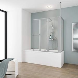 Schulte Badewannenfaltwand Komfort mit Seitenwand, alu natur, Kunstglas mit Softline-Dekor, D1511 01 01