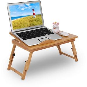 Zoternen Tragbarer Laptop-Tisch, Betttisch aus Bambus, zusammenklappbar, mit Schublade, neigbar, 50 x 30 x 20 cm