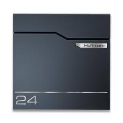 Anthrazit Briefkasten aus Edelstahl V2A mit Name und Hausnummer