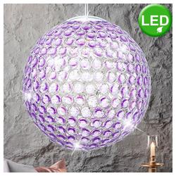 etc-shop Hängeleuchte, 9,5 Watt LED Hänge Leuchte lila Kugel Beleuchtung Pendel Lampe Kristalle rund