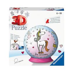 Ravensburger 3D-Puzzle puzzleball® Ø13 cm, 72 Teile, Einhorn, Puzzleteile
