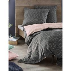 Bettwäsche rosa Nordisch Geometrisches Muster, Irisette, hochwertige Mako Satin Qualität