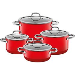 Silit Topf-Set Passion Red, Silargan®, (Set, 8-tlg), Silargan, Induktion, Glasdeckel
