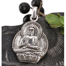 Guru-Shop Kettenanhänger Silber Anhänger Buddha Talisman - Modell 2